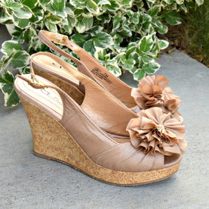 Heel Platform Wedge Satin Sandals With a Bow NWOB
